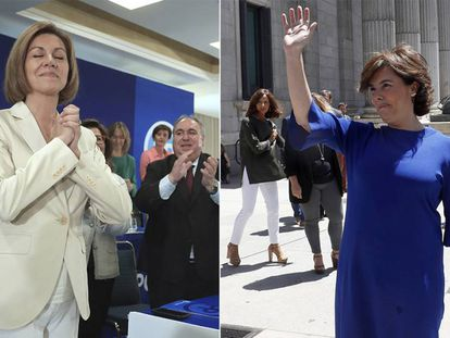 Cospedal y Soraya Sáenz de Santamaría hoy durante el anuncio de sus candidaturas.