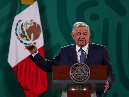 López Obrador durante la conferencia matutina del día de hoy.