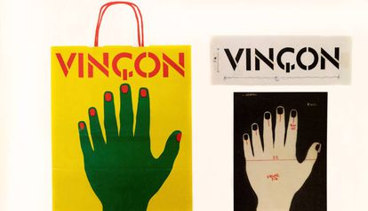 Logotipo, diseño para la bolsa de papel de Vinçon de 1972 y su aplicación final.