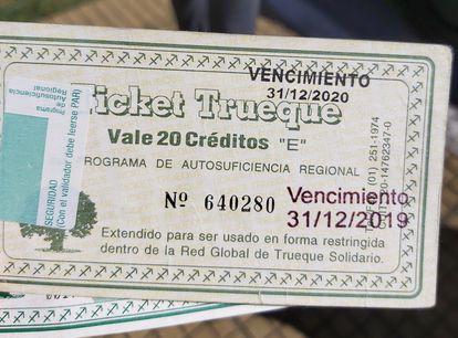 Un crédito de la red de clubes del trueque que funciona en Argentina.