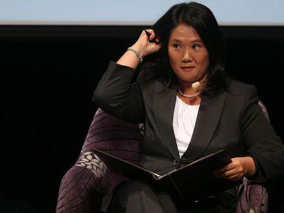 La candidata Keiko Fujimori en la Universidad del Pacífico.