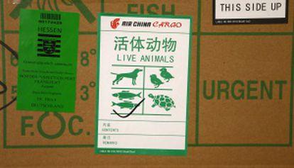 Pegatinas para el transporte de animales en China.