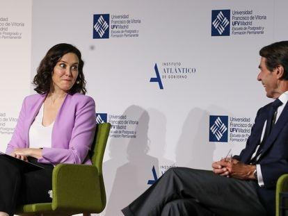 Isabel Diaz Ayuso y José María Aznar, este viernes.