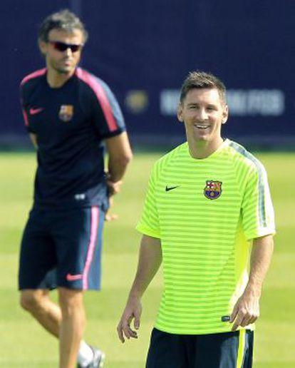 Luis Enrique y Messi, en un entrenamiento.