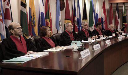 Jueces de la Corte Interamericana en la sesión sobre Costa Rica en 2012. / J. A. (EFE)