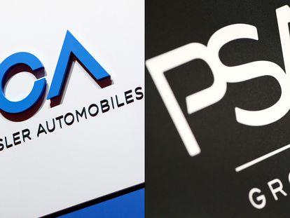 Imágenes de los logos de Fiat-Chrysler y del Grupo PSA.