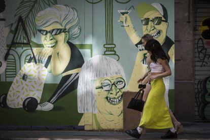 Mural de la calle Manso de la inmobiliaria Núñez i Navarro pintado por Marina Capdevila.