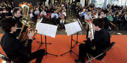 Un cuarteto de viento, integrado por alumnos de un conservatorio, ofrece un concierto en Musika-Música.