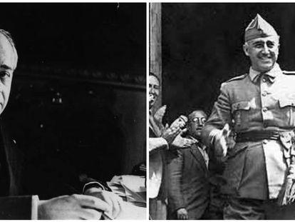 De izquierda a derecha, Azaña, en su mesa de trabajo, y Franco, en 1936 en Burgos.