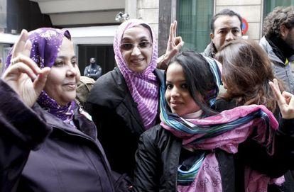 La saharaui Aminatu Haidar a su llegada a la Audiencia Nacional.