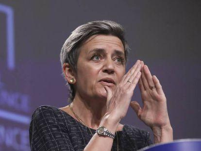 La vicepresidenta ejecutiva de la Comisión Europea, Margrethe Vestager, durante la presentación del reglamento europeo sobre inteligencia artificial.