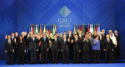 Participantes en la cumbre G-20 celebrada en Los Cabos, en México.