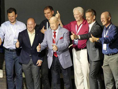 De izquierda a derecha, los astronautas Roman Romanenko, Garrett Reisman, Sergey Volkov, Alexei Leonov, Russell Schweickant, Chris Hadfield y Claude Nicollier, invitados al Starmus 2016.