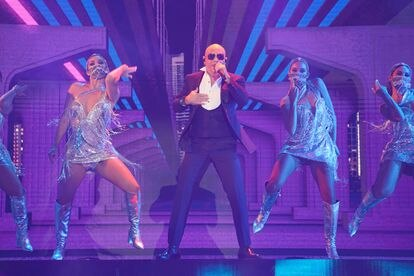 Pitbull performing at the BB&T Center, in Sunrise, Florida, at the Latin American Music Awards ceremony.