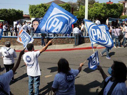 En la imagen el arranque de campaña del candidato del Partido Acción Nacional, el 4 de abril de 2021 en Morelos, México.