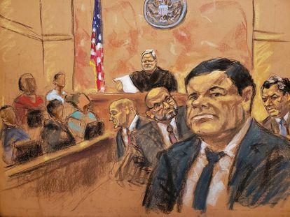 El Chapo, según una de las dibujantes que ha estado en las audiencias.