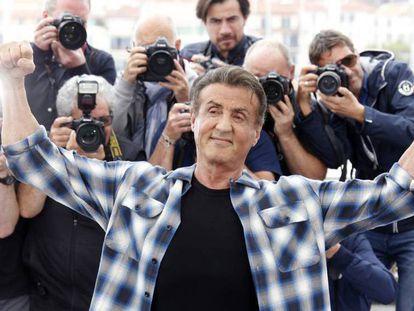 Sylvester Stallone, este viernes en Cannes. En vídeo, Stallone promociona la nueva entrega de 'Rambo'.