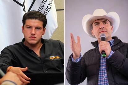 Los candidatos a la gubernatura de Nuevo León, Samuel García de Movimiento Ciudadano (izquierda) y Adrián de la Garza de la coliación PRI-PRD.
