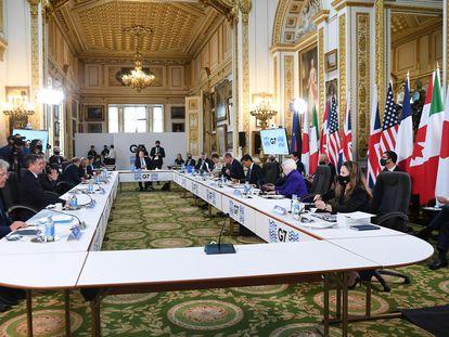 Reunión de los ministros de Finanzas del G-7, en Lancaster House en Londres, este sábado.