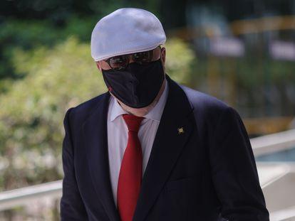El comisario jubilado José Manuel Villarejo a su salida de la Audiencia Nacional de Madrid tras declarar por la 'Kitchen' el pasado día 2 de julio.