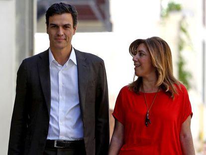 Pedro Sánchez y Susana Díaz a su llegada a la sede del PSOE en Madrid, el pasado día 14.