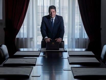 El primer ministro de Gibraltar, Fabian Picardo, el sábado durante la entrevista en la sede de su Gobierno.