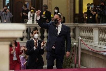 Oriol Junqueras a su llegada al Parlament para asistir a la investidura de Aragonès el pasado 21 de mayo.