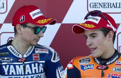 Lorenzo y Marquez, antes de la sesión de clasificación.