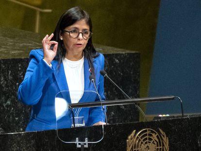 Delcy Rodríguez, vicepresidenta de Venezuela, en septiembre en la Asamblea General de Naciones Unidas.