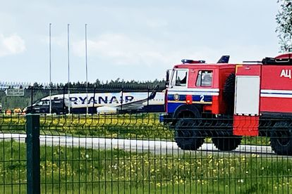 The Ryanair plane, a Boeing 737-8AS, in which Protasevich was traveling, at Minsk airport, where it made an emergency landing this Sunday.
