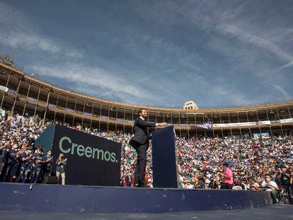 Acto de clausura de la Convención Nacional del PP, en la Plaza de Toros de Valencia, este domingo.