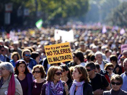 Manifestación en noviembre de 2015 en Madrid contra la violencia de género.