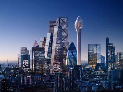 Recreación del Tulipán rodeado de otros rascacielos de la City.