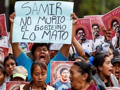 Una de las protestas por el asesinato de Samir Flores.