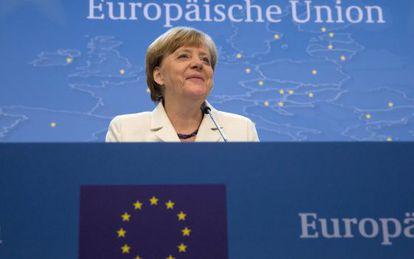 Angela Merkel, durante su intervención tras lograrse el acuerdo.