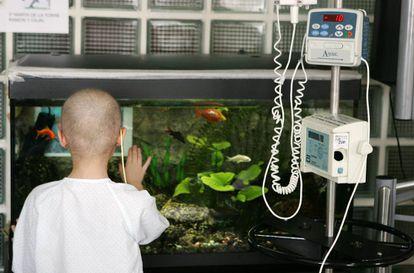 Una niña ingresada en la planta de oncología del Hospital de La Paz de Madrid.