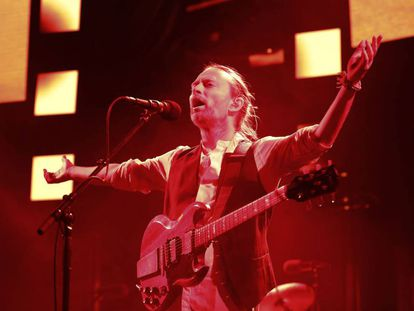 El lider de Radiohead Thom Yorke, en un concierto en París, el 24 de mayo.