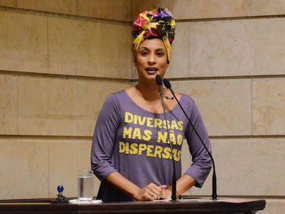 La concejal Marielle Franco, durante una intervención en el Ayuntamiento de Río de Janeiro en diciembre de 2017.
