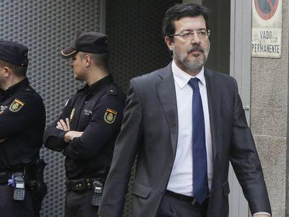 El juez Fernando Andreu, a la salida de la Audiencia Nacional, en una imagen de archivo.