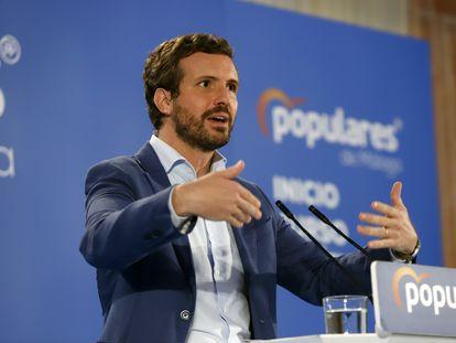 El presidente del PP, Pablo Casado, este viernes en Alhaurín el Grande (Málaga).