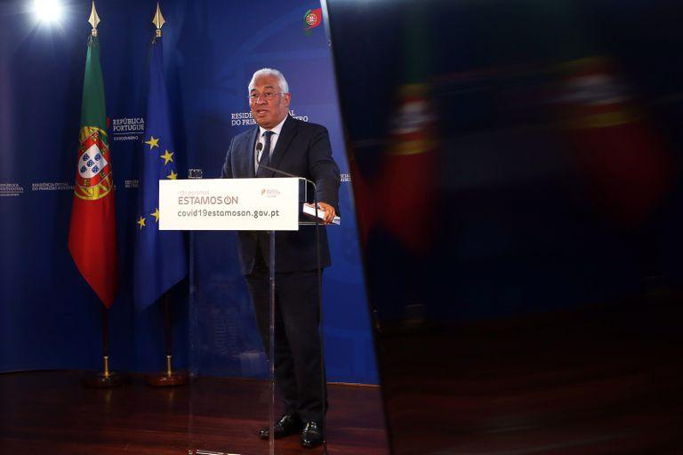 El primer ministro portugués, António Costa, en la conferencia de prensa tras la reunión por videoconferencia de la Comisión Europea.