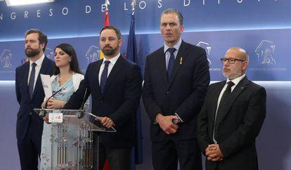 Rueda de prensa del presidente de Vox, Santiago Abascal, junto a otros dirigentes del partido, el pasado 27 de junio.