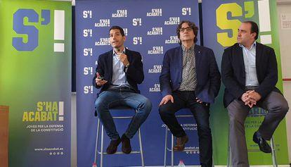 Los diputados del Parlament Nacho Martín (Ciudadanos), David Pérez (PSC), y Daniel Serrano (PP).