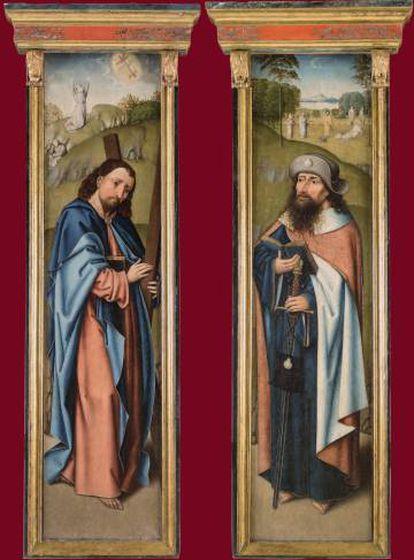 San Andrés (izquierda) y Santiago, en la puerta del tríptico del Maestro Johannes (1510).