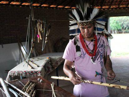 Un habitante de la aldea Ekeruá, Pueblo Terena, en Brasil.