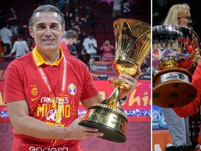 Scariolo y Mondelo, con los títulos del Mundial y el Eurobasket de 2019.