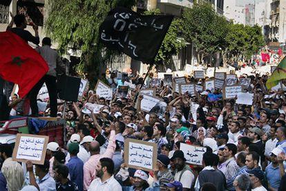 Miles de personas se manifiestan en Casablanca el 12 de junio.