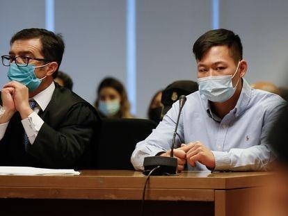 Juicio en la Audiencia Provincial contra Kevin Cui (a la derecha), el kamikaze que mató a otro joven en un choque frontal.