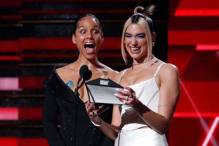 Alicia Keys and Dua Lipa, at the 2020 Grammys in Los Angeles, when they announced Billie Eilish as Best New Artist.