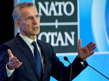 El secretario general de la OTAN, Jens Stoltenberg, en una intervención en Washington, en abril.